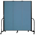 "Screenflex Portable Room Divider - 3 Panel - 6'H x 5'9""L -  Blue"
