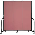 """Screenflex Portable Room Divider - 3 Panel - 6'H x 5'9""""L -  Mauve"""