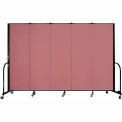 "Screenflex Portable Room Divider - 5 Panel - 6'H x 9'5""L -  Rose"