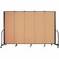 "Screenflex Portable Room Divider - 5 Panel - 6'H x 9'5""L -  Desert"