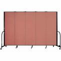 "Screenflex Portable Room Divider - 5 Panel - 6'H x 9'5""L -  Cranberry"