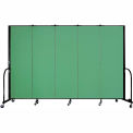 "Screenflex Portable Room Divider - 5 Panel - 6'H x 9'5""L -  Sea Green"