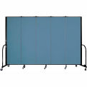 "Screenflex Portable Room Divider - 5 Panel - 6'H x 9'5""L -  Blue"