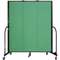 "Screenflex 3 Panel Portable Room Divider, 6'8""H x 5'9""L, Fabric Color: Sea Green"