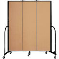 "Screenflex 3 Panel Portable Room Divider, 6'8""H x 5'9""L, Fabric Color: Sand"
