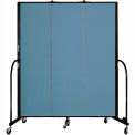 "Screenflex 3 Panel Portable Room Divider, 6'8""H x 5'9""L, Fabric Color: Blue"