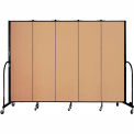 "Screenflex 5 Panel Portable Room Divider, 6'8""H x 9'5""L, Fabric Color: Desert"