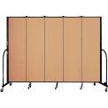 "Screenflex 5 Panel Portable Room Divider, 6'8""H x 9'5""L, Fabric Color: Wheat"