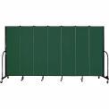 "Screenflex 7 Panel Portable Room Divider, 6'8""H x 13'1""L, Fabric Color: Green"