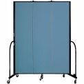 "Screenflex 3 Panel Portable Room Divider, 7'4""H x 5'9""L, Fabric Color: Blue"