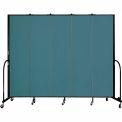 "Screenflex 5 Panel Portable Room Divider, 7'4""H x 9'5""L, Fabric Color: Lake"