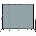"Screenflex 5 Panel Portable Room Divider, 7'4""H x 9'5""L, Fabric Color: Grey Stone"