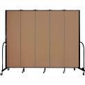 "Screenflex 5 Panel Portable Room Divider, 7'4""H x 9'5""L, Fabric Color: Beech"
