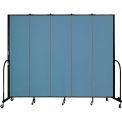 "Screenflex 5 Panel Portable Room Divider, 7'4""H x 9'5""L, Fabric Color: Blue"
