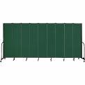 "Screenflex 9 Panel Portable Room Divider, 7'4""H x 16'9""L, Fabric Color: Green"