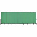 "Screenflex 13 Panel Portable Room Divider, 8'H x 24'1""L, Fabric Color: Sea Green"