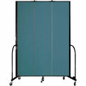 "Screenflex 3 Panel Portable Room Divider, 8'H x 5'9""L, Fabric Color: Lake"