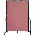 "Screenflex 3 Panel Portable Room Divider, 8'H x 5'9""L, Fabric Color: Rose"
