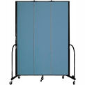 "Screenflex 3 Panel Portable Room Divider, 8'H x 5'9""L, Fabric Color: Summer Blue"