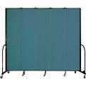 "Screenflex 5 Panel Portable Room Divider, 8'H x 9'5""L, Fabric Color: Lake"