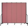 "Screenflex 5 Panel Portable Room Divider, 8'H x 9'5""L, Fabric Color: Rose"