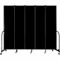 "Screenflex 5 Panel Portable Room Divider, 8'H x 9'5""L, Fabric Color: Charcoal Black"