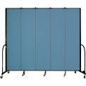 "Screenflex 5 Panel Portable Room Divider, 8'H x 9'5""L, Fabric Color: Summer Blue"