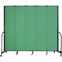 "Screenflex 5 Panel Portable Room Divider, 8'H x 9'5""L, Fabric Color: Sea Green"