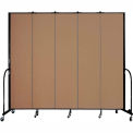 "Screenflex 5 Panel Portable Room Divider, 8'H x 9'5""L, Fabric Color: Beech"