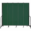 "Screenflex 5 Panel Portable Room Divider, 8'H x 9'5""L, Fabric Color: Green"