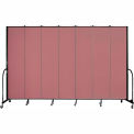 "Screenflex 7 Panel Portable Room Divider, 8'H x 13'1""L, Fabric Color: Rose"