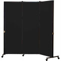 Healthflex Portable Medical Privacy Screen, 3-Panel, Charcoal