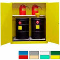 Securall® 120-Gallon, Manual Close, Vertical Flammable Drum Cabinet Yellow