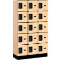 "Salsbury Designer Wood Locker 35355 - Five Tier 3 Wide 12""W x 15""D x 12""H Maple Unassembled"