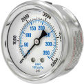 "Pic Gauges 2 1/2"" Pressure Gauge, Liquid Filled, 5000 PSI, SS Case, Center Back Mount, PRO-202L-254R"