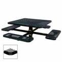 "46"" Single Pedestal Square Table, Inground, Expanded Metal 78""W x 78""D - Black"