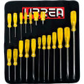 Urrea Amber Handle Screwdriver Set, 9600E, Flat, Cabinet & Phillips Tip, 19 Pieces