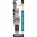 Zebra Retractable Gel Pen G-301 - Black Ink - Stainless Steel Barrel - 2 Pack
