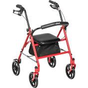 AmbulateurDrive Medical10257RD-1,4 roues, support pour le dos repliable et amovible, rouge