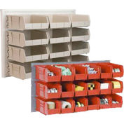 Wall Bin Rack Panel 36 x19 With 8 Red 8-1/4x11x7 Stacking Bins