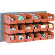 Wall Bin Rack Panel 36 x19 With 32 Red 4-1/8x7-1/2x3 Stacking Bins