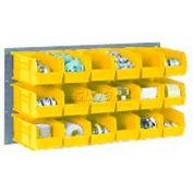 Wall Bin Rack Panel 36 x19 With 8 Yellow 8-1/4x14-3/4x7 Stacking Bins