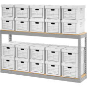 """Record Storage With Boxes 72""""W x 15""""D x 36""""H - Gray"""