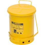 Justrite 10 Gallon Oily Waste Can, Yellow - 09301