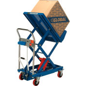 Global Industrial™ Mobile Lift & Tilt Scissor Lift Table 400 Lb. Cap. - 29 x 19 Platform