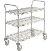 "Nexel® Utility Cart, 3 Shelf, Nexelate® , 30""L x 24""W x 39""H, Polyurethane Brake Casters"