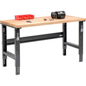 Global Industrial™ 60x30 Adjustable Height Workbench C-Channel Leg - Maple Square Edge - Black