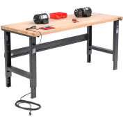 Global Industrial™ 72x36 Adjustable Height Workbench C-Channel Leg - Maple Square Edge - Black