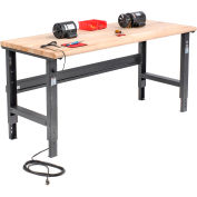 Global Industrial™ 72x36 Adjustable Height Workbench C-Channel Leg - Maple Safety Edge - Black