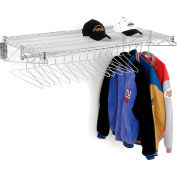 """Chrome Coat Rack with Bars - Wall Mount - 48""""W x 24""""D x 6""""H"""